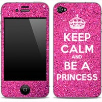 Pink Glitter Keep Calm And Be A Princess iPhone 4 by DesignSkinz