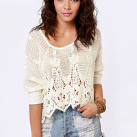 Crochet or the Highway Ivory Crocheted Top