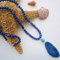 Freshwater Pearl Agate Turquoise Necklace. Blue Beaded Necklace. Mermaid Jewels.