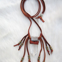 Leather Wrapped Crystal Necklace. Crystal Quartz Pendant. Saddle Brown Fringe Necklace.