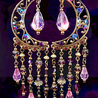 Sparkly Pink Crystal Celestial Chandelier Earrings- Arabian Nights Fantasy Pink and Purple Moroccan ,Long Bohemian Earrings- MTO