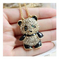 New Arrival Corean Fashion and Lovely Style Faux Fully-Jewelled Decorated Panda Shape Design Necklace