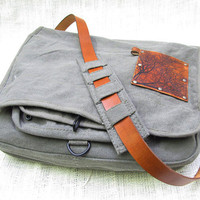 canvas messenger bag with leather accents by backerton on Etsy