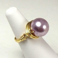 Wire Wrapped Pearl Ring Lavender and Gold Wirewrapped Size 6.25