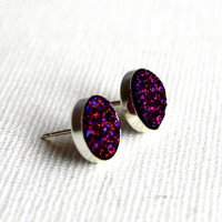 Intergalactic Purple Druzy Studs in by RachelPfefferDesigns