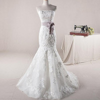 Custom make Vintage Lace Wedding Dress Bridal Gown Sweetheart Straps Mermaid Dress with Train Sash Belt Buttons