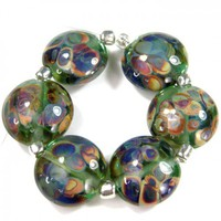 Lampwork Lentil Beads Pale Emerald Green And Raku Handmade Glass