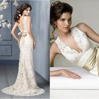 Ivory Lace V Neck Weddin...