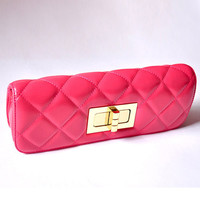 Big Rhombus Shape Convenient Rose Red Clutches : Fashionwholesale4u.com