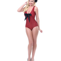 50's Style Red & Black Bow Tank One Piece Swimsuit - Unique Vintage - Cocktail, Pinup, Holiday & Prom Dresses.