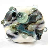 Lampwork Bead Metallic Copper Green Ivory Gunmetal Glass Handmade SRA