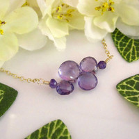 Abstract purple amethyst bar gold necklace