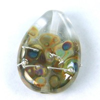 Clear Glass Bead Handmade Lampwork Focal Bead Raku Silver Wrapped SRA