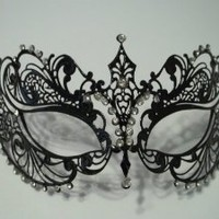 Burlesque-Boutique Women's Laser Cut Metal Venetian Pretty Masquerade Mask, Black/Clear Stones, One Size