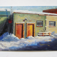 Original Fine art painting in winter. Red Doors oil on canvas 12x16