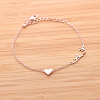 tiny HEART & love you bracelet, 3colors | girlsluv.it