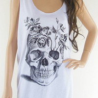 Skull Flowers (Size M) Skull Design Art Tshirt Zombie Tank Top Women T-Shirt Skull Shirt Skull Tanks White T-Shirt Tunic Screen Print Size M