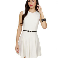 Classic Ivory Dress - White Dress - Belted Dress - $51.00