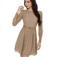 Darling Lola Dress - Brown Print Dress - Sixties Dress - $85.00