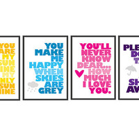 You are my sunshine - Set of four 13x19 Prints - Yellow - Blue - Pink - Purple