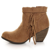 Qupid Priority 21 Camel Suede Fringe Ankle Boots - $38.00