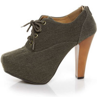 Qupid Puffin 28 Brown Canvas Lace-Up Ankle Booties - &amp;#36;39.00