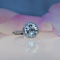 2.2ct round White sapphire 14k White gold diamond engagement ring