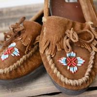 Vintage Beaded Suede Leather Moccasin Loafers Sz 75 by bumbleebuck