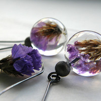 Vintage Earrings with purple flowers by sisicata on Etsy