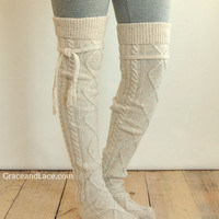 Alpine Thigh High Slouch Sock  Tweed thick cable by GraceandLaceCo