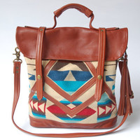 leather and Pendleton tote-  'The Coastal Tote Bag'