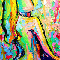 Femme 207 6x8 Impasto abstract nude oil by SagittariusGallery