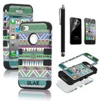 Amazon.com: Pandamimi ULAK(TM) 3-Piece Hybrid High Impact Case Tribal Black Silicone for iphone 4 4S +Screen Protector+Stylus: Cell Phones &amp; Accessories