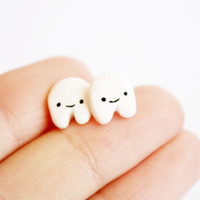 $9.95 Teeth Stud earrings  handmade cute polymer clay by kukishop