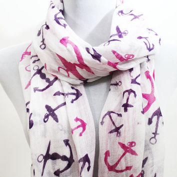 Pink Anchor Scarf