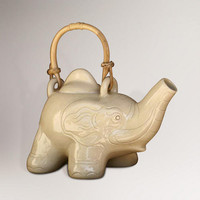 Novica Elephant Cream Tea Ceramic Teapot