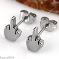 ONE PAIR Stainless Steel Middle Finger Post Stud Earrings