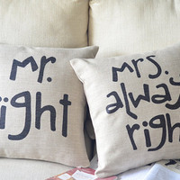 1 pair  linen MR right , MRS always right words printed decorative  pillow cover Valentine&#x27;s Day present 18&quot;