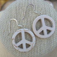 Peace Sign Seashell Earrings-HIppy Jewelry, BOHO Earrings, Seashell Jewelry, Surfer Girl, PEACE Charm Earrings, Fashion Accessories