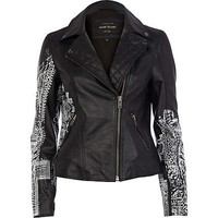 Black cross painted leather jacket