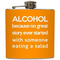"Liquid Courage Flasks: ""Tall Tales"" - Funny Custom Color Alcohol Flask"