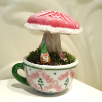 Tiny Gnome w Mushroom  Great Valentines Gift by workofwhimsy