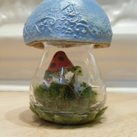 Blue Mushroom Terrarium with Gnome living inside by workofwhimsy