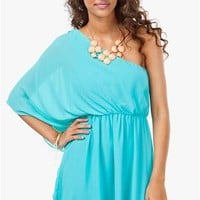 A'GACI Kimono Drape 1 Shoulder Dress - DRESSES