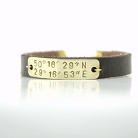 Personalized Hand Stamped  Latitude and Longitude Coordinates  Bracelet  -  Brass Tag Brown Leather Bracelet - Valentine&#x27;s Day Gift