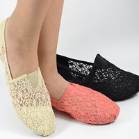 Womens Flat Shoes Slip on Lace Material Black Beige Light Coral New Ballet Flats