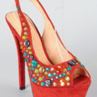 Liliana Phoebe-2 Multicolor Jeweled Slingback Pump