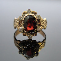 Victorian 10K Rose Gold, Diamond and Large Garnet Ring, Circa 1900s, RGGAR102D