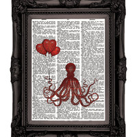Amorous OCTOPUS Dictionary Print Upcycled Book  Art by nommon