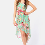 Apple Orchard Floral Print High-Low Dress